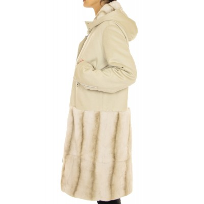 Cashmere  Coat with  Rex Rabbit on the Hood and Hem