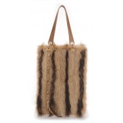 American Raccoon  Shopping Bag with Leather
