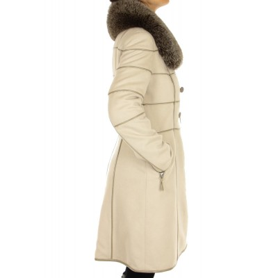 Cashmere Coat with Detachable Fox on the Collar
