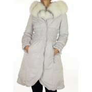Down Coat with Detachable Collar - Hood with Platimum Fox