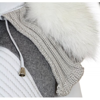 Down Jacket with Cashmere & Knitted Details and Detachable Platinum Fox on the Hood