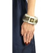 Mink & Leather Bracelet in Beige Snowtop with Pyramid Closure