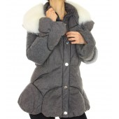 Down Jacket with Knitted Cashmere Details and Detachable Shadow Fox on the Collar