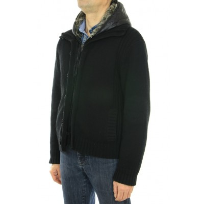 Knitted Male Wool Jacket with Rex Rabbit on the Hood