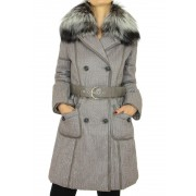 Coat with Detachable Silver Fox on the Collar