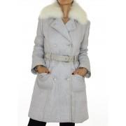 Coat with Detachable Platinum Fox on the Collar & Rex Rabbit Lining.
