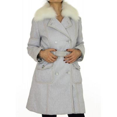Coat with Detachable Platinum Fox on the Collar