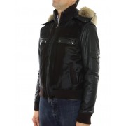 Calf Male Jacket with Chinese Raccoon Trimming & Detachable Hood and Leather Sleeves.
