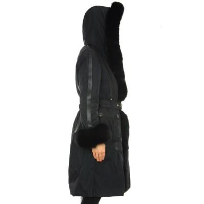 Coat with Detachable Fox on Hood -Facing & Cuffs & Detachable Rabbit Lining