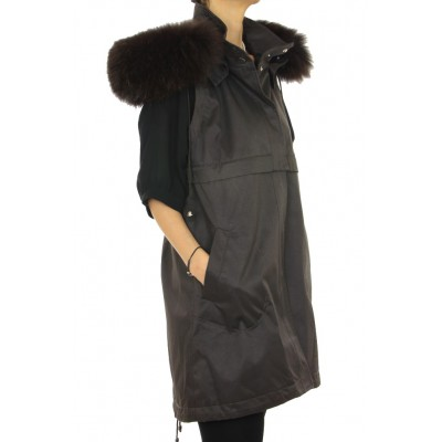 Coat with Detachable Inner Textile Vest & Detachable Outer Rex Rabbit Vest With Detachable Chinese Raccoon on Hood.