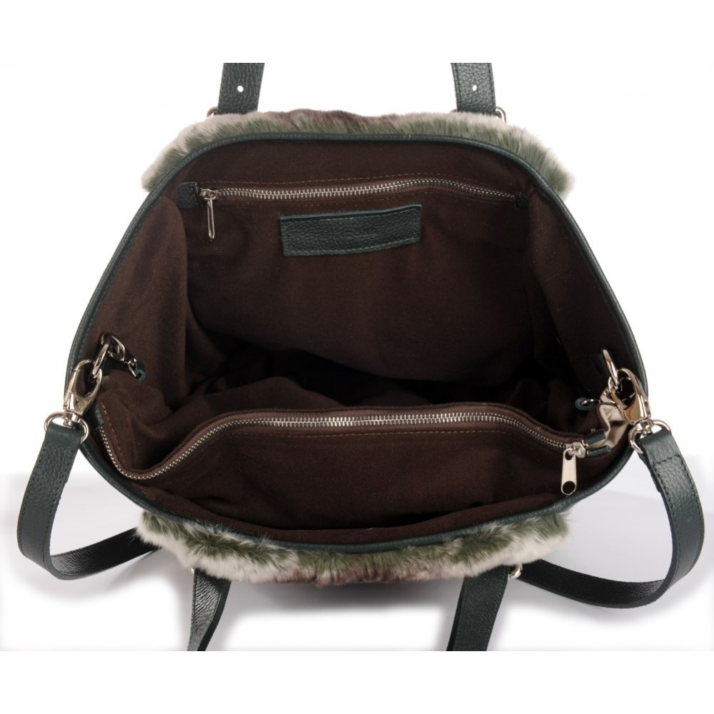 Rex Rabbit Fur Tote Bag with Leather (Vicky) 1d75e4e860f62