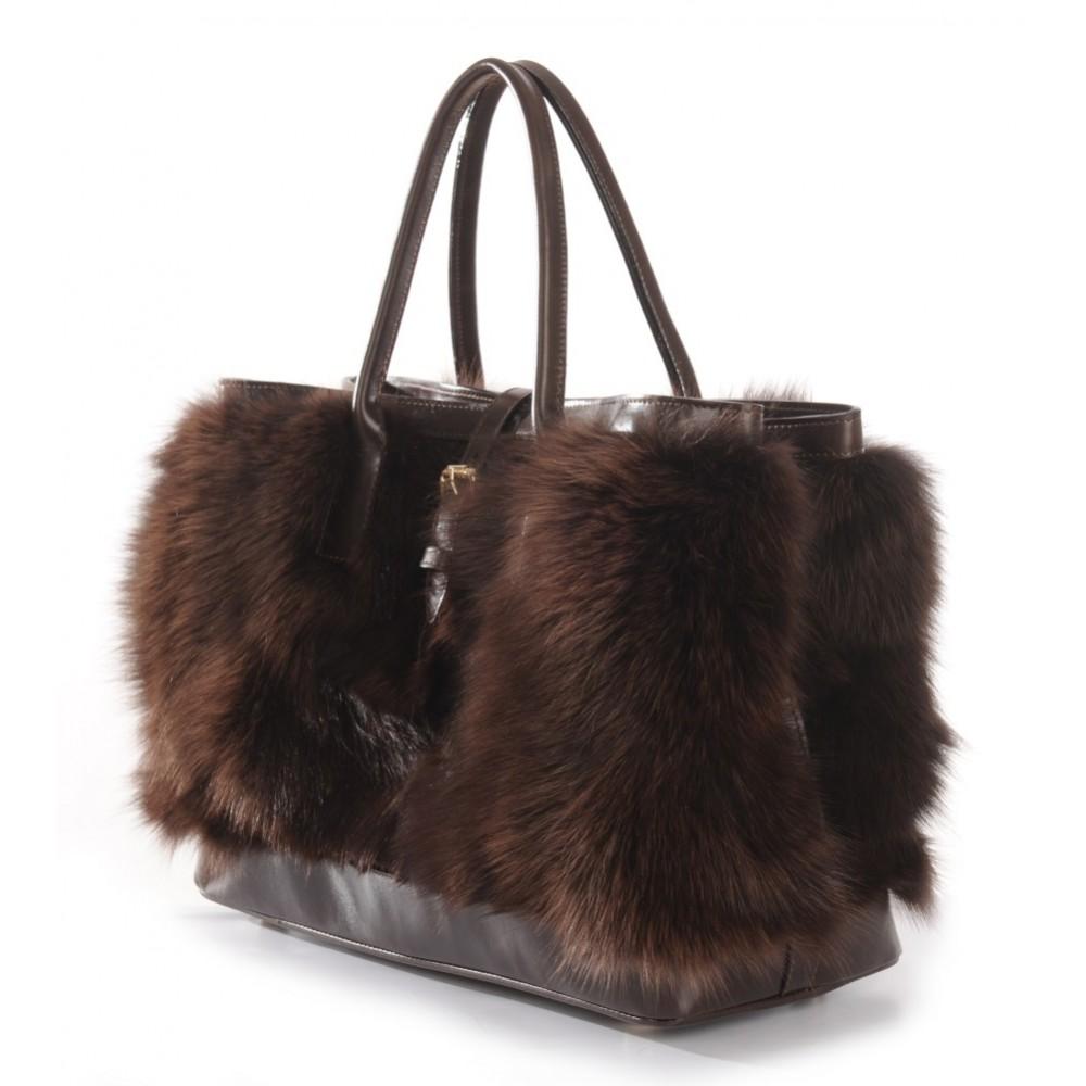b534aaeacd Fox Fur Tote Bag with Leather