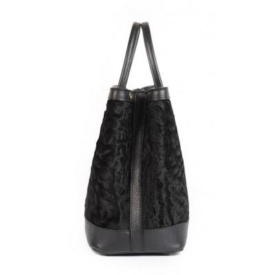 SWAKARA Lamb Fur and Real Leather Black Tote Bag