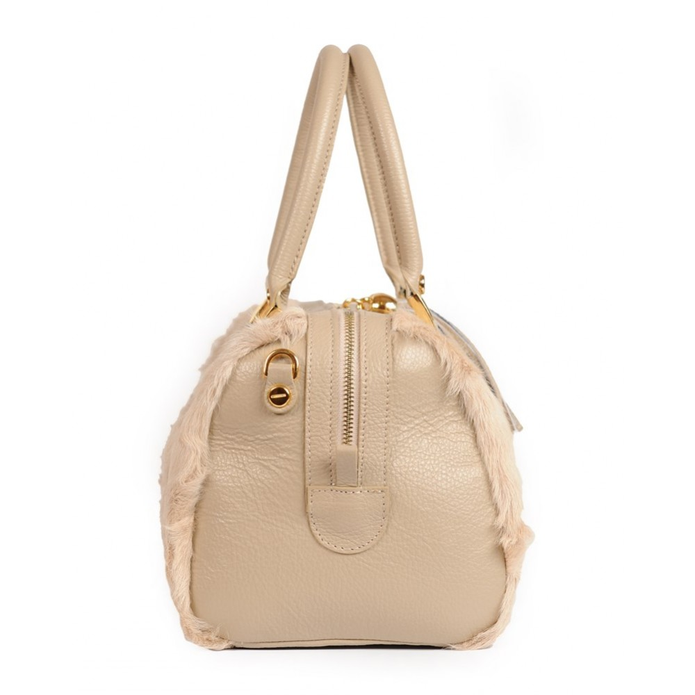 b51f2372ad Afghan Lamb Fur Tote Bag with Leather