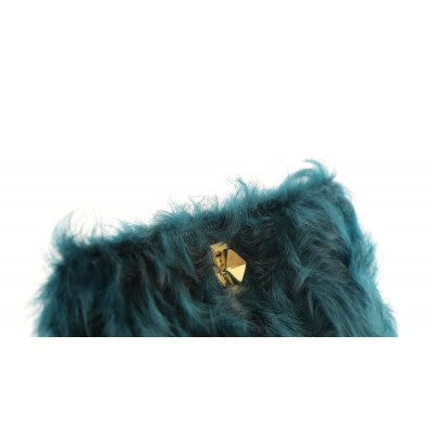 Chekiang Lamb Fur Clutch with Leather and Light Gold Closure