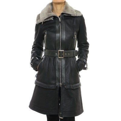 Mutton Coat with Leather Details