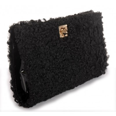 Afghan Karakul Fur Clutch with Leather and Light Gold Closure