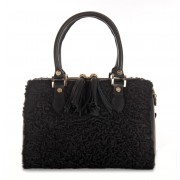 Afghan Karakul Fur Tote Bag with Leather