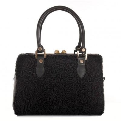 Afghan Karakul Fur Tote Bag with Leather