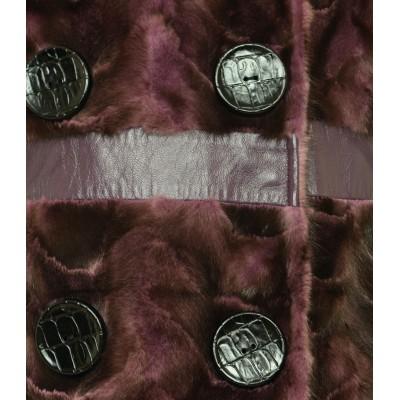 Mink Fur Pieces Coat In Purple Snowtop Color