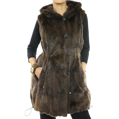Muskrat Fur - Polyester Reversible Vest  with Hood