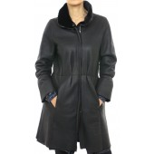 Mutton Coat with Poly Details in Black Napa