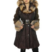 Coat with Detachable Silver Fox on the Hood & Cuffs