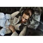 Down Jacket with Detachable Silver Fox on the Hood & Cashmere Knitted
