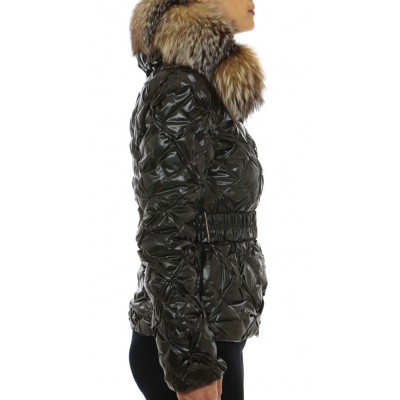 Down Jacket With Detachable Silver Fox on the Collar