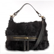 Lamb Fur Shoulder Bag with Leather (Helena)