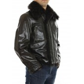 Leather Male Jacket With Detachable Chekiang Lamb On Collar - Detachable Textile Quilted Vest & Chekiang Lamp On Facing And Hem