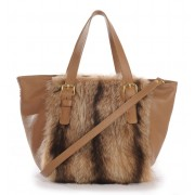 American Raccoon Fur Tote Bag with Leather (Vicky)