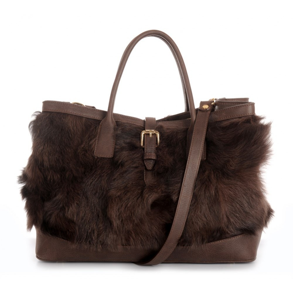 921881a8e7 Chekiang Lamb Fur Tote Bag with Leather